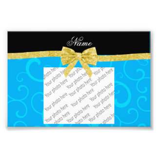Custom name sky blue swirls gold glitter bow photograph