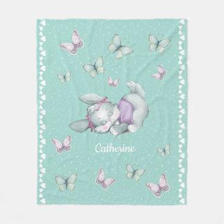 Custom name Sleeping Bunny in pink and purple Fleece Blanket