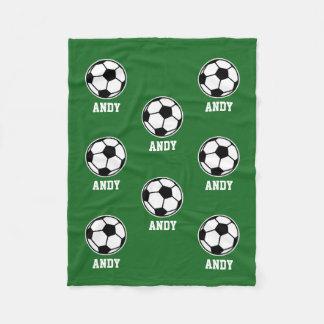 Custom name soccer ball pattern fleece blanket