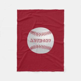 Custom Name Sports Theme Red Baseball Blanket