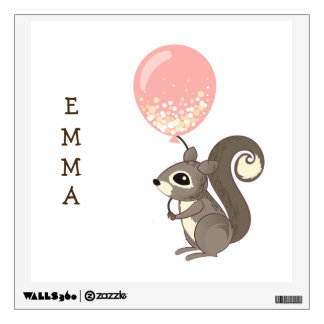 Custom Name Squirrel with Pink Balloon Wall Decal
