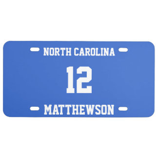 Custom Name State Team Number Sports Fan Player License Plate