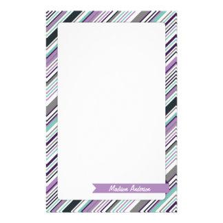Custom Name Stripe Stationery Purple