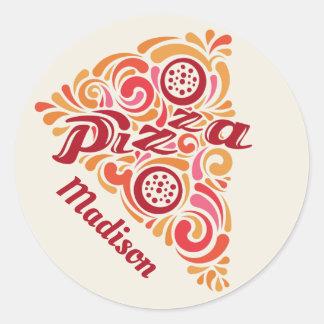 Custom Name Stylized Pizza stickers