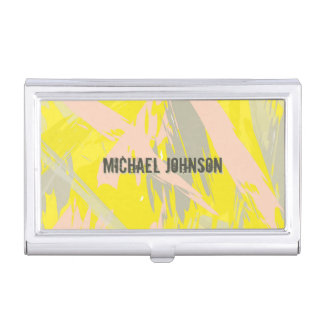 Custom Name Summer Yellow Abstract Business Card Holder
