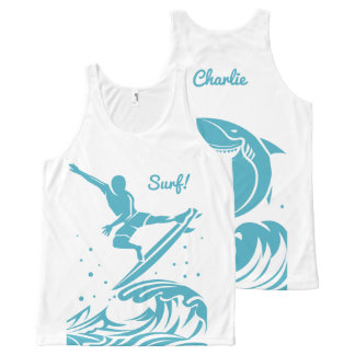 Custom Name Surfer tank top