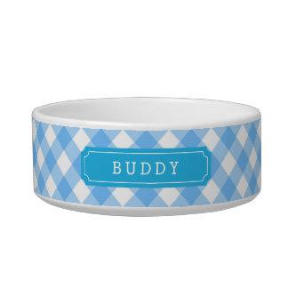 Custom Name Sweet Baby Blue Gingham Bowl