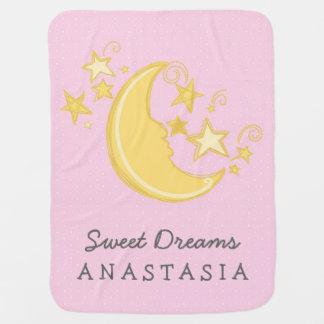 Custom Name Sweet Dreams Baby Blanket / Pink Receiving Blankets