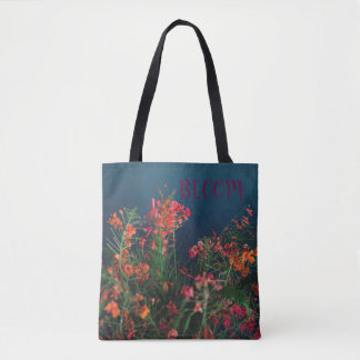 Custom Name Teal Blue Blooming Flowers Tote Bag
