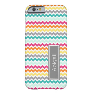 Custom Name Teal Orange Pink Chevron Barely There iPhone 6 Case