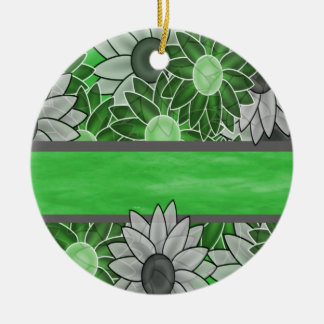 Custom Name Template and Flowers Round Ceramic Ornament