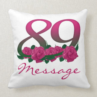 Custom name text 89 pink flowers throw pillow