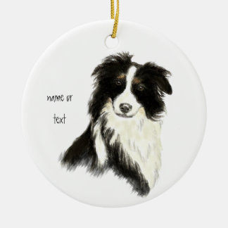 Custom Name text Border Collie Dog Pet Ceramic Ornament