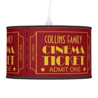 Custom Name Theatre Ticket Roll Movie Theme Pendant Lamp