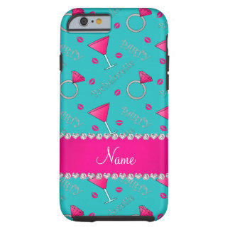 Custom name turquoise bachelorette cocktails rings tough iPhone 6 case
