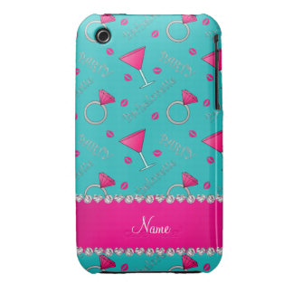 Custom name turquoise bachelorette cocktails rings Case-Mate iPhone 3 cases