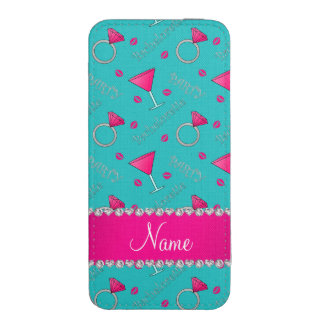 Custom name turquoise bachelorette cocktails rings iPhone pouch