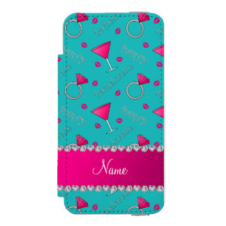 Custom name turquoise bachelorette cocktails rings incipio watson™ iPhone 5 wallet case