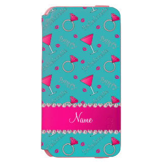 Custom name turquoise bachelorette cocktails rings incipio watson™ iPhone 6 wallet case