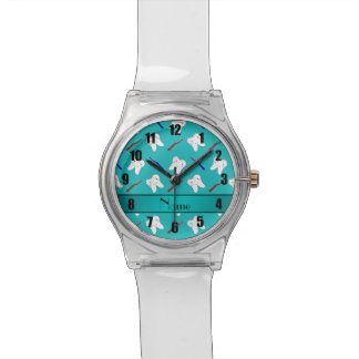 Custom name turquoise brushes and tooth pattern wrist watch