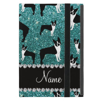 Custom name turquoise glitter boston terrier iPad mini cover