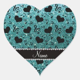 Custom name turquoise glitter music notes hearts heart sticker