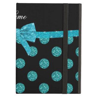 Custom name turquoise glitter polka dots bow iPad air covers