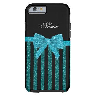 Custom name turquoise glitter stripes bow tough iPhone 6 case