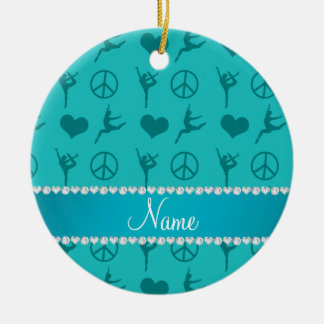 Custom name turquoise gymnastics hearts peace sign round ceramic ornament