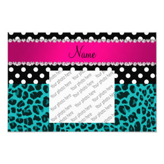 Custom name turquoise leopard black dots photographic print