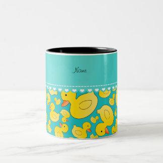 Custom name turquoise rubberducks heart stripe Two-Tone coffee mug