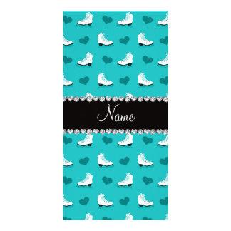 Custom name turquoise skates and hearts photo card