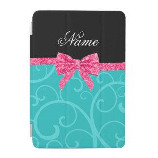 Custom name turquoise swirls pink glitter bow iPad mini cover