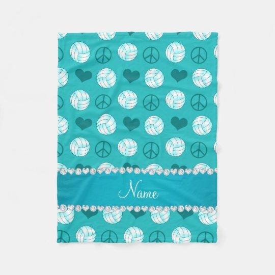 Custom name turquoise volleyballs peace hearts fleece blanket
