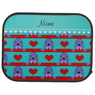 Custom  name turquoise walrus red hearts stripes car mat