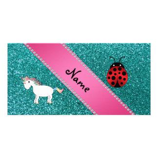 Custom name unicorn ladybug turquoise glitter picture card