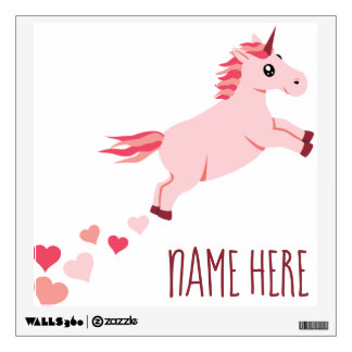 Custom Name Unicorn Pink Hearts Wall Decal