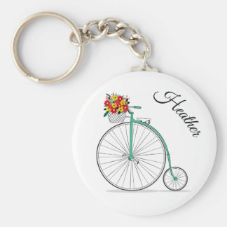 Custom Name Unicycle Bike Keychain