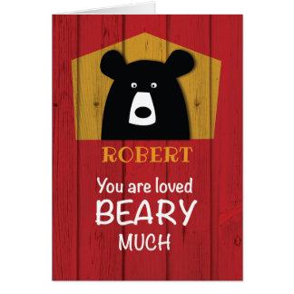 Custom Name, Valentine Bear Wishes on Red Wood Card