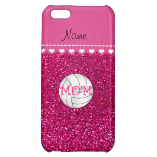 Custom name volleyball mom neon hot pink glitter iPhone 5C cover