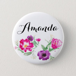 Custom Name Watercolor Flowers Button