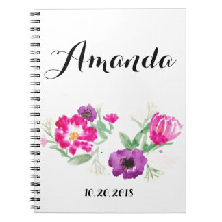 Custom Name Watercolor Flowers Notebook