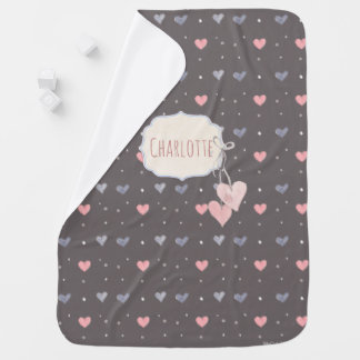 Custom Name Watercolor Hearts Brown, Pink, Blue Baby Blanket