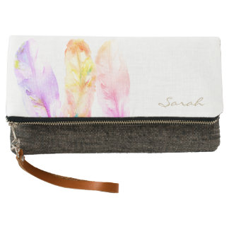 Custom Name, Watercolour feather painting, chic Clutch