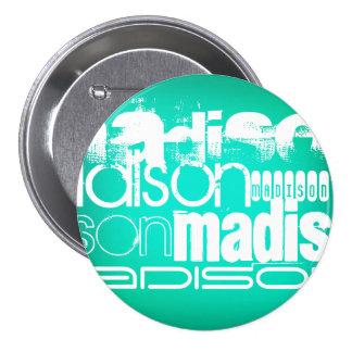 Custom Name, White and Neon Aqua Turquoise 3 Inch Round Button