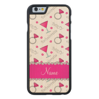 Custom name white bachelorette cocktails rings carved® maple iPhone 6 slim case