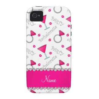 Custom name white bachelorette cocktails rings iPhone 4 cover