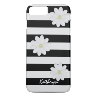 Custom Name White Flowers Striped iPhone 8 Plus/7 Plus Case