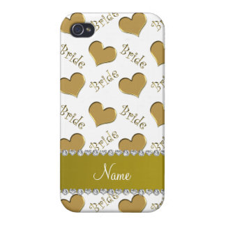 Custom name white gold bride hearts iPhone 4 cases