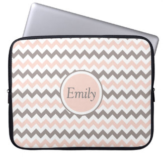 Custom Name White Pink Grey Chevron Laptop Sleeve